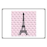Pink and Black Paris Eiffel Tower Banner
