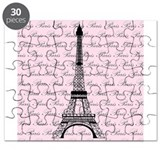 Pink and Black Paris Eiffel Tower Puzzle