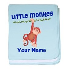 Monkey Boy Kids Personalized baby blanket