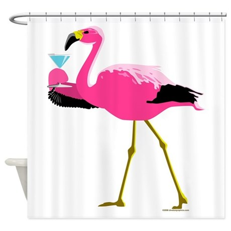pink flamingo drinking a martini shower curtain by divebargraphics. Black Bedroom Furniture Sets. Home Design Ideas