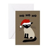 Siamese Santa Claws Greeting Card