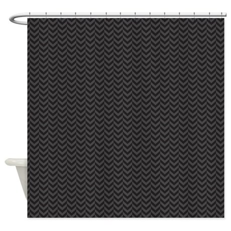 black chevron zigzag print shower curtain by