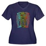 Leopards 3D Women's Plus Size V-Neck Dark T-Shirt