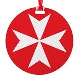 White Maltese Cross Round Ornament