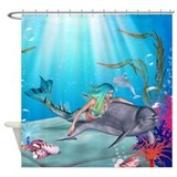 The Mermaid And The Dolphin Shower Curtain