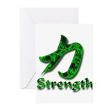 Strength in Kanji and English Greeting Cards (Pack