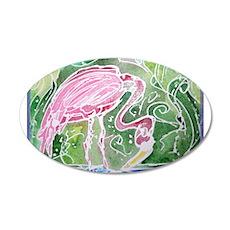 Flamingo! Fun bird art! 20x12 Oval Wall Decal