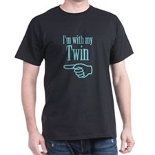 I'm with my twin (left) Black T-Shirt