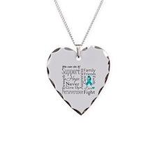 Ovarian Cancer Words Necklace Heart Charm