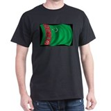 Wavy Turkmenistan Flag Black T-Shirt
