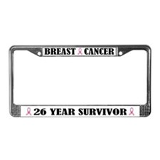Breast Cancer 26 Year Survivor License Frame