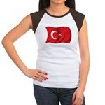 Wavy Turkey Flag Women's Cap Sleeve T-Shirt