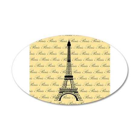 Yellow and Black Paris Eiffel Tower 20x12 Oval Wal