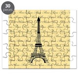 Yellow and Black Paris Eiffel Tower Puzzle