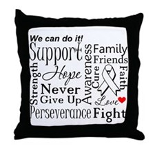 Lung Cancer Words Throw Pillow