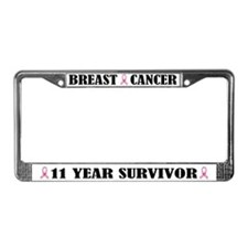 Breast Cancer 11 Year Survivor License Frame