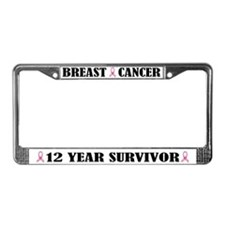 Breast Cancer 12 Year Survivor License Frame
