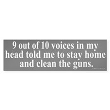 9 out of 10 Voices Bumper Car Sticker