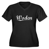 Aged, Woden Women's Plus Size V-Neck Dark T-Shirt