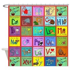 alphabet soup creations Shower Curtain