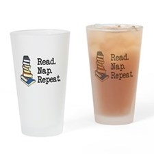 Read. Nap. Repeat. Drinking Glass