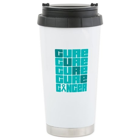 CURE Ovarian Cancer Collage Ceramic Travel Mug