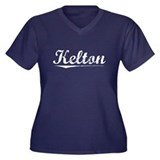 Aged, Kelton Women's Plus Size V-Neck Dark T-Shirt