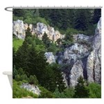 Pine tree cliffs Shower Curtain