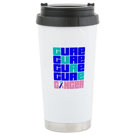 CURE Thyroid Cancer Collage Ceramic Travel Mug