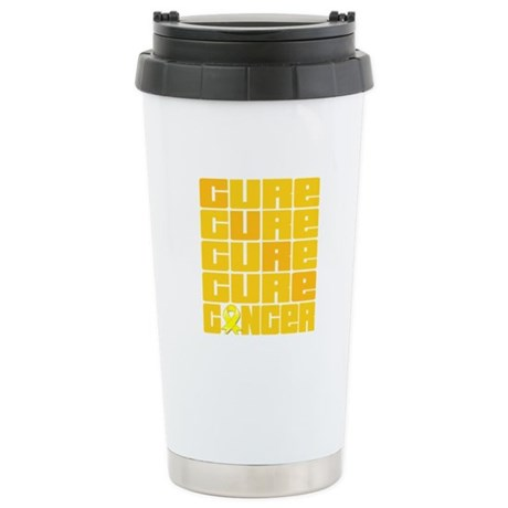 CURE Testicular Cancer Collage Ceramic Travel Mug