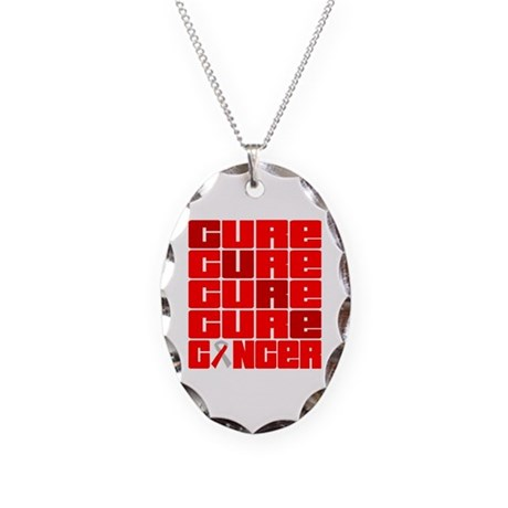 CURE Oral Cancer Collage Necklace Oval Charm