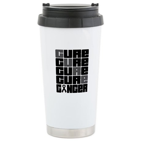 CURE Skin Cancer Collage Ceramic Travel Mug