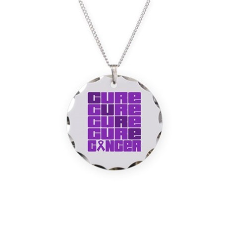 CURE Pancreatic Cancer Collage Necklace Circle Cha