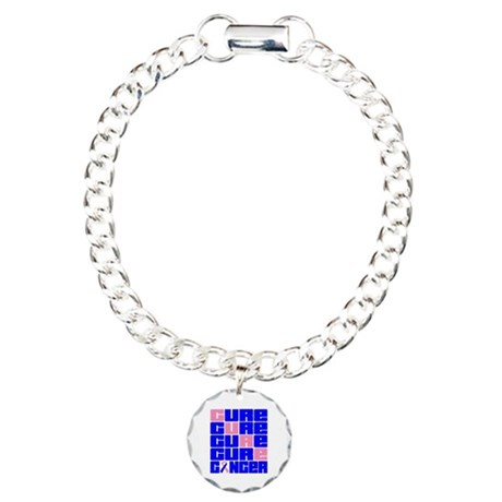 CURE Male Breast Cancer Collage Charm Bracelet, On
