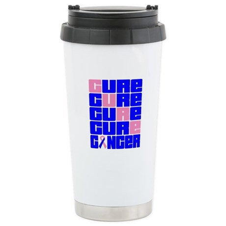 CURE Male Breast Cancer Collage Ceramic Travel Mug