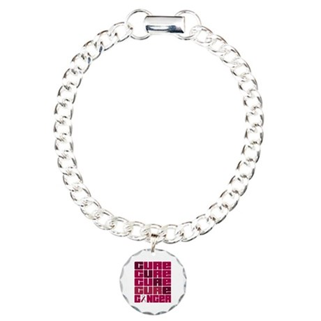 CURE Head Neck Cancer Collage Charm Bracelet, One