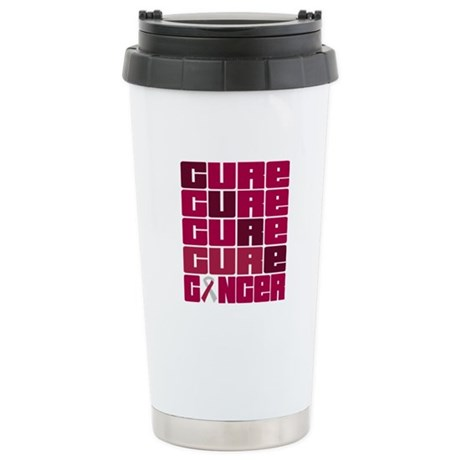 CURE Head Neck Cancer Collage Ceramic Travel Mug