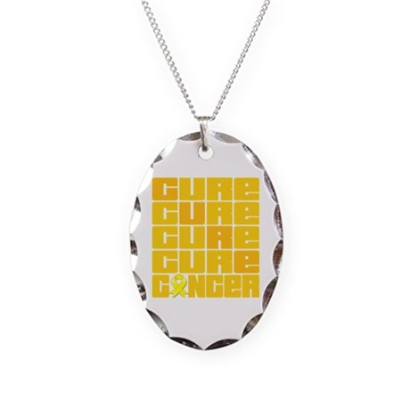 CURE Ewings Sarcoma Collage Necklace Oval Charm