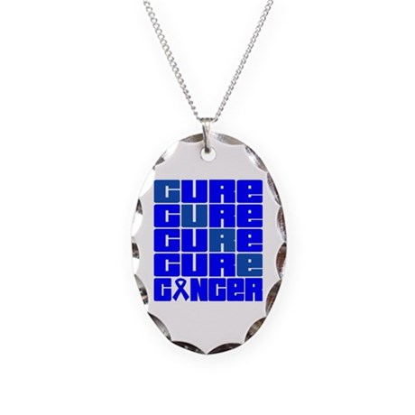 CURE Colon Cancer Collage Necklace Oval Charm