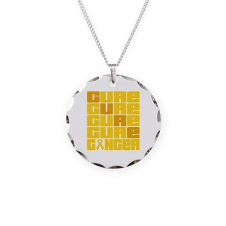 CURE Childhood Cancer Collage Necklace Circle Char