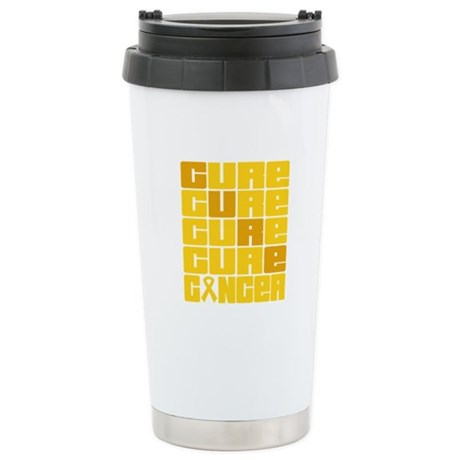 CURE Childhood Cancer Collage Ceramic Travel Mug