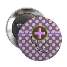 "Medical polka dots purple.PNG 2.25"" Button"