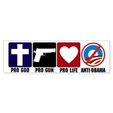 Pro God Guns Life Anti Obama Bumper Bumper Sticker