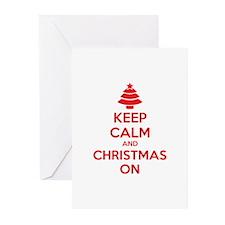 Keep calm and christmas on Greeting Cards (Pk of 2