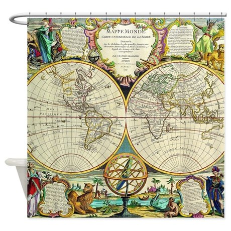 Vintage World Map Shower Curtain By Iloveyou1