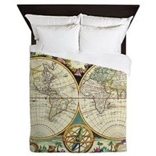 Vintage World Map Queen Duvet