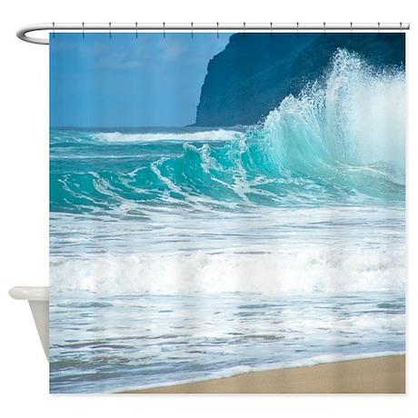 surf beach polihale hawaii tropical shower curtain by
