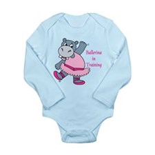 Funny Dancing hippo Long Sleeve Infant Bodysuit