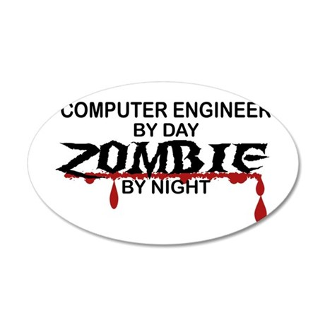 Computer Engineer Zombie 20x12 Oval Wall Decal