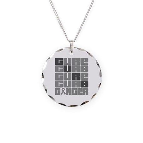 CURE Brain Cancer Collage Necklace Circle Charm